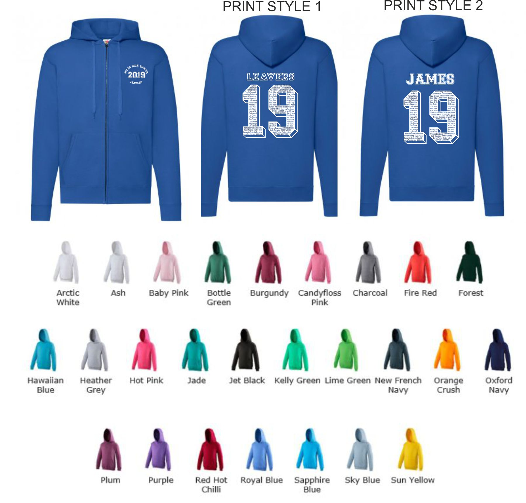 School Leavers AWD JH050 Senior Full Zip Hoody