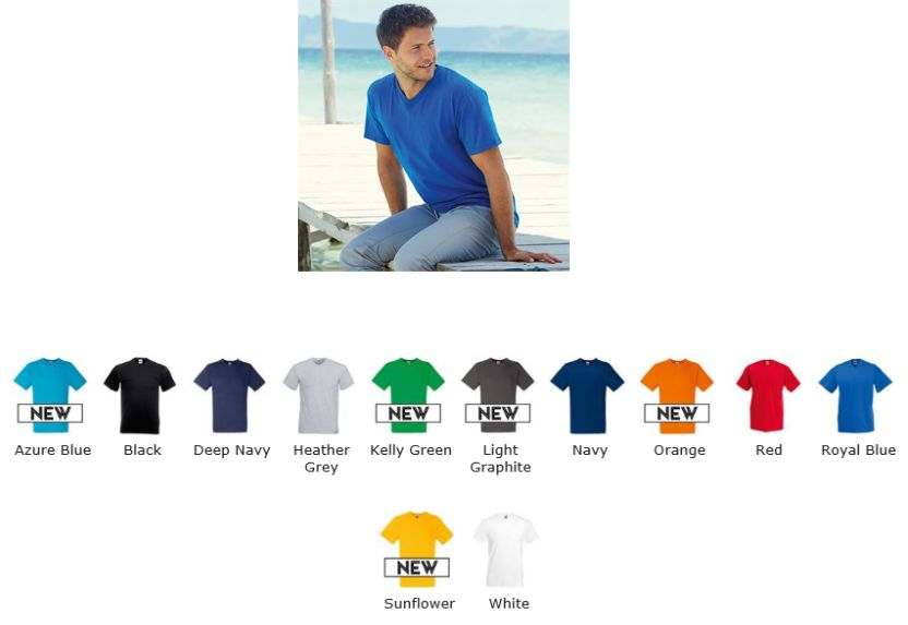 SS20M Fruit of the Loom Value Weight Vee Neck Tee Shirt