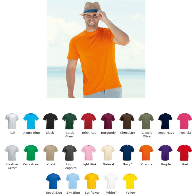 57b4d6b7 Fruit of the Loom 61036 Value Weight SS28m Tee Printed Clothing, T ...