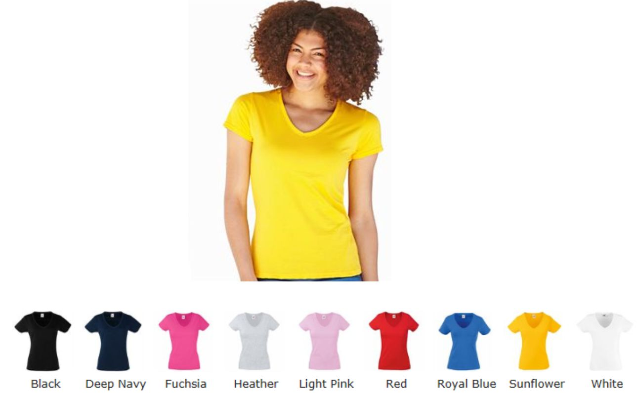 Fruit of the Loom SS702 Valueweight Vee Neck Tee