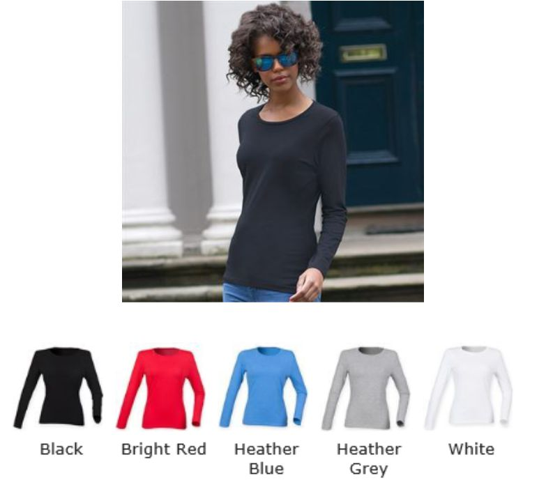 ST124 SF Ladies Fee Good Long Sleeved Stretch Tee