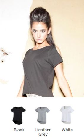 ST233 Skinnifit Ladies Drop tail Top tee with shoulder detail