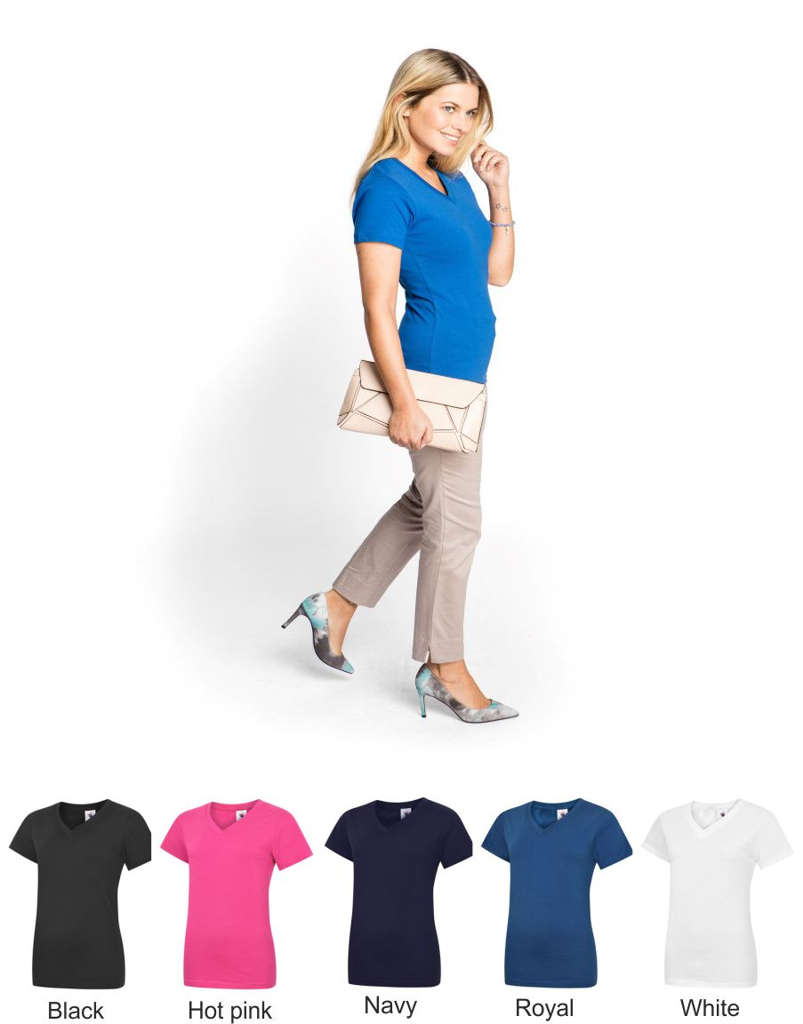 Uneek UC319 Ladies Classic Vee Neck Tee Shirt