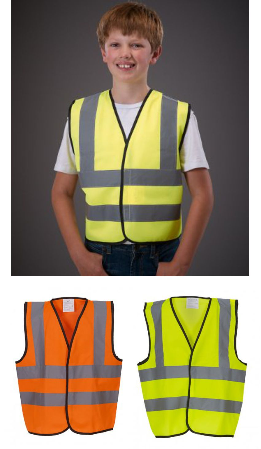 Yoko YK102B Kids Hi Vi Two Band & Braces Vest