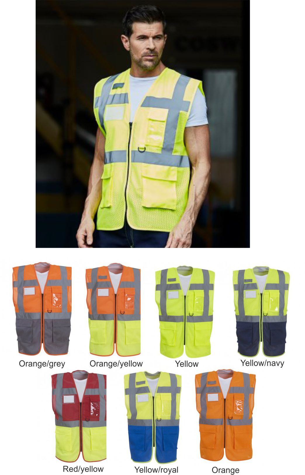 YK107 Hi Vis Top Cool Open Mesh Executive Vest