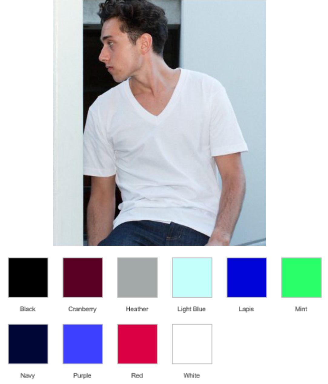 AA049 American Apparel Unisex Fine Jersey V Neck T-Shirt