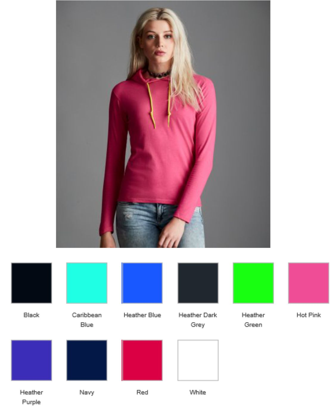 2099883747a0 AV108F Anvil Ladies Lightweight Long Sleeve Hooded Tee Shirt - £8.67 ...