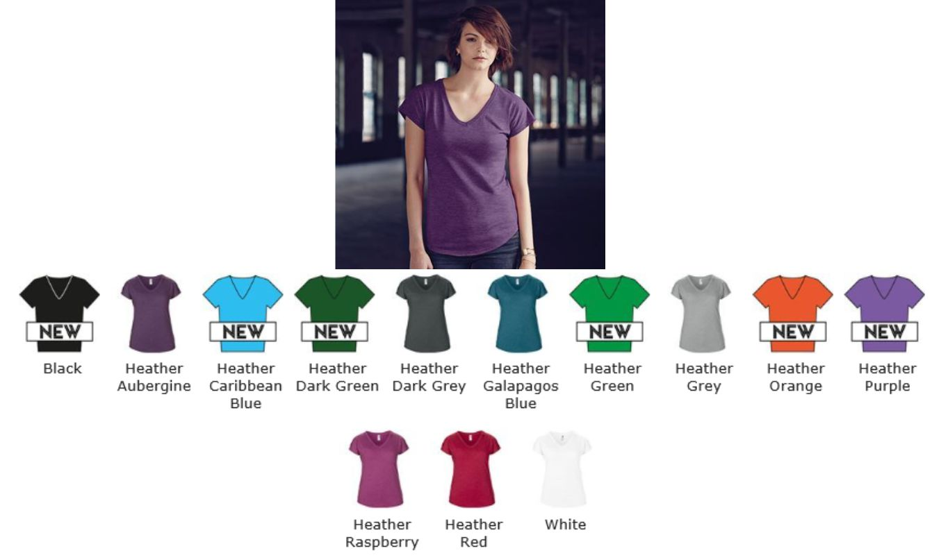 Anvil AV113F Ladies Tri-lend V-Neck Tee