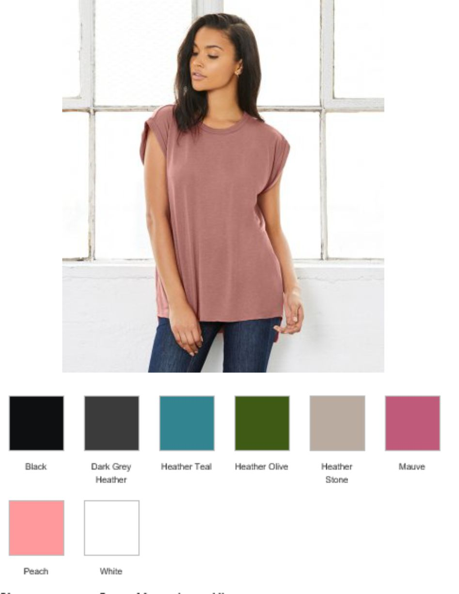 BL8804 Bella Ladies Flowy Rolled Cuff Muscle T-Shirt