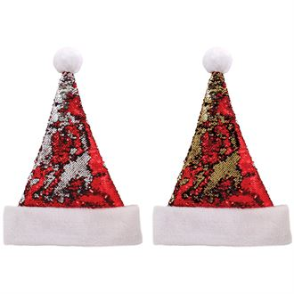 CS107 Double Sided Sequin Santa Hat