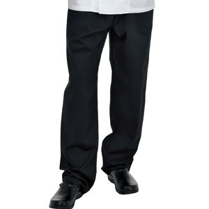 DC62A Denny's fully elasticated, black, long life chef trousers