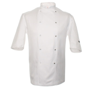 DD01E Dennys 50/50 chefs jacket with stainless steel studs