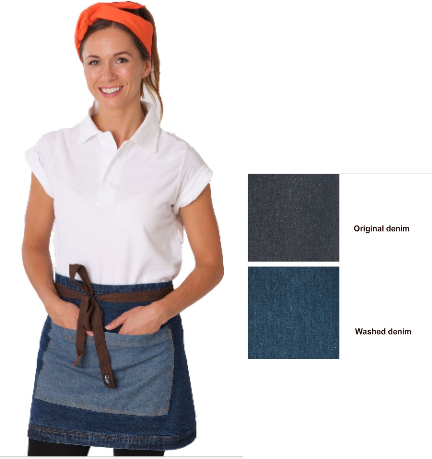 DP103 Denim Waist Apron with Contrasting Pocket