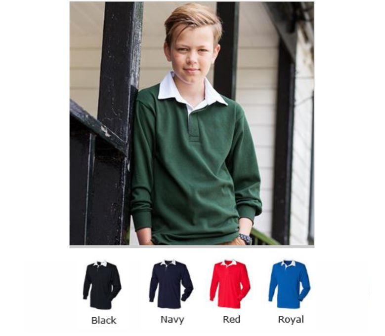 Front Row FR109 Childrens Long Sleeve Plain Rugby shirt