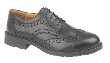 FS44 Black 4 eyelet Leather, Lined Brogue