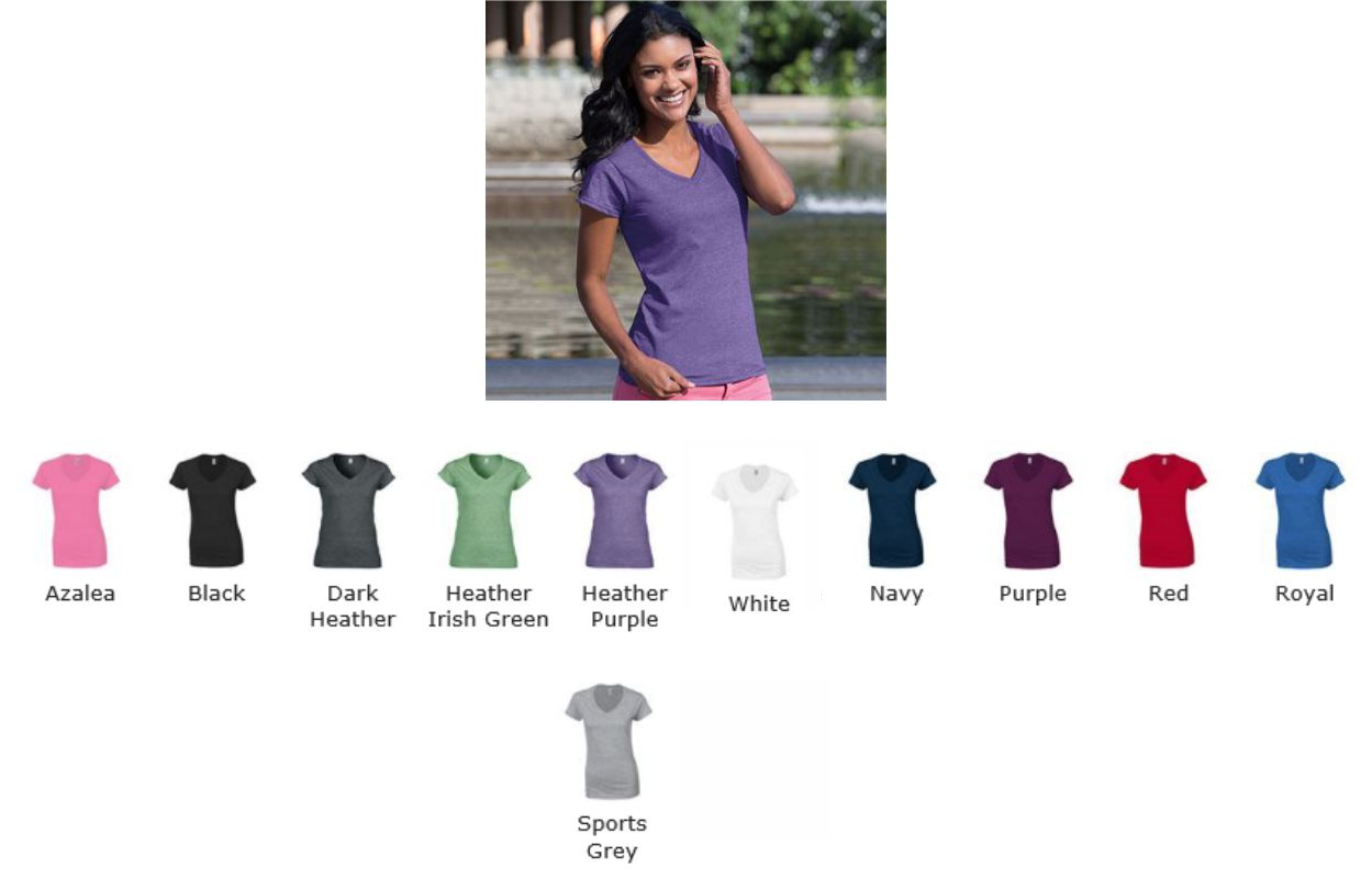 Gildan GD78 Soft Style Ladies V Neck Tee Shirt