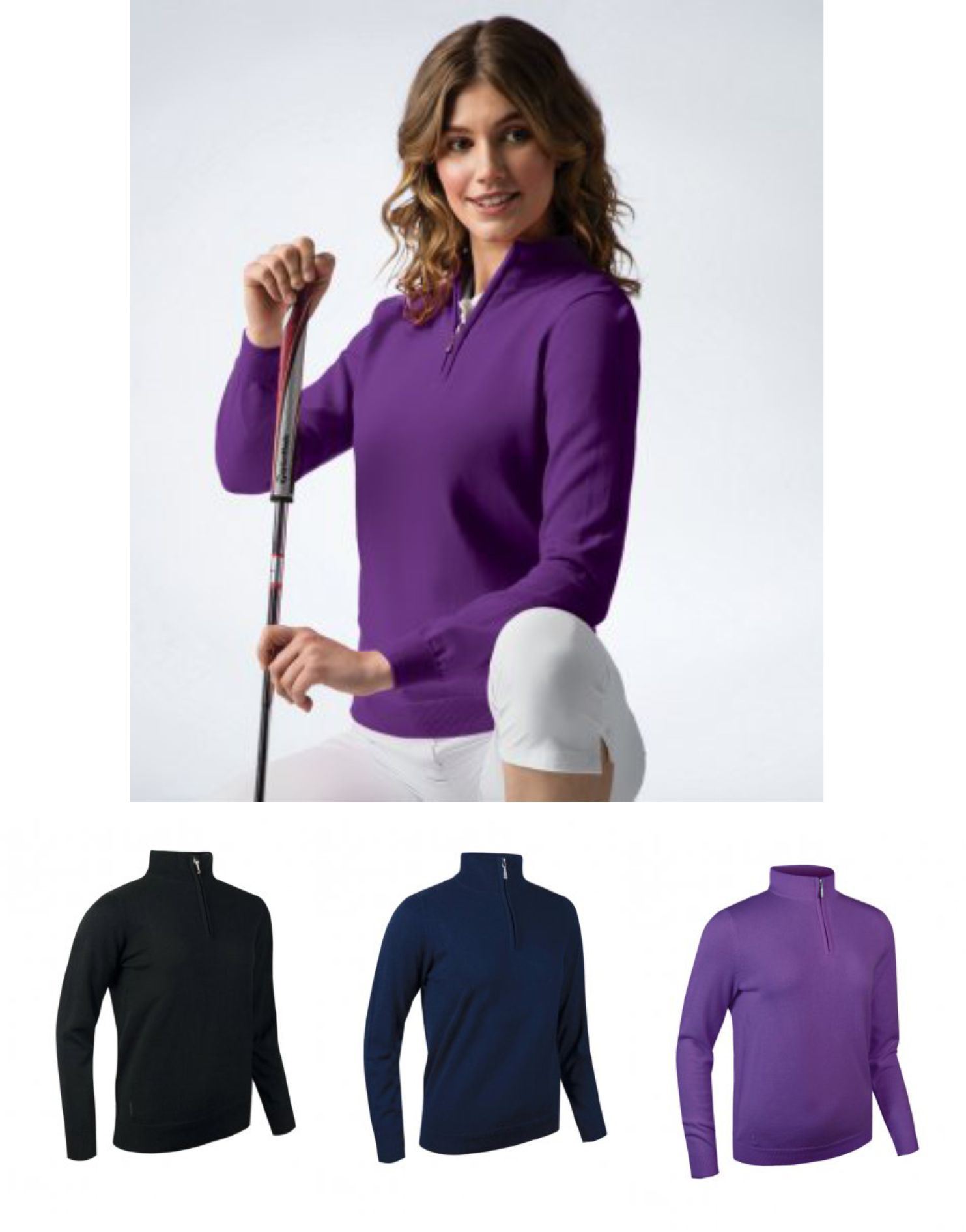 GM98 Glenmuir Ladies Zip Neck Sweater