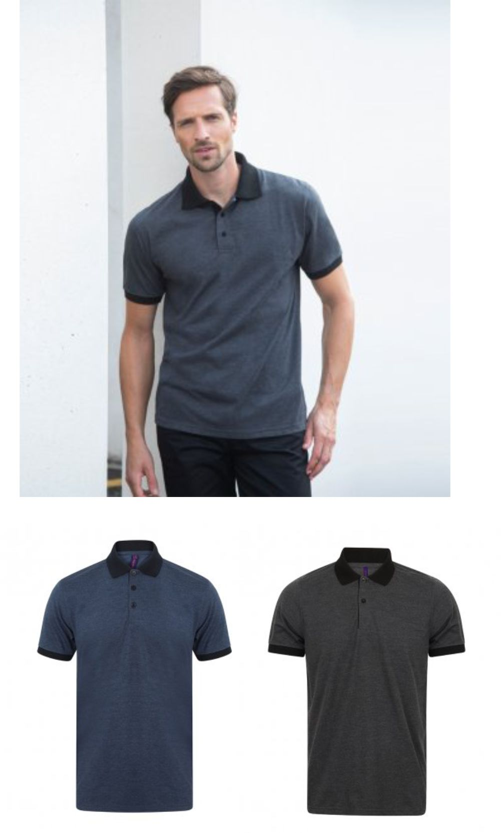 Henbury H490 Contrast Tr-Blend Jersey Polo Shirt