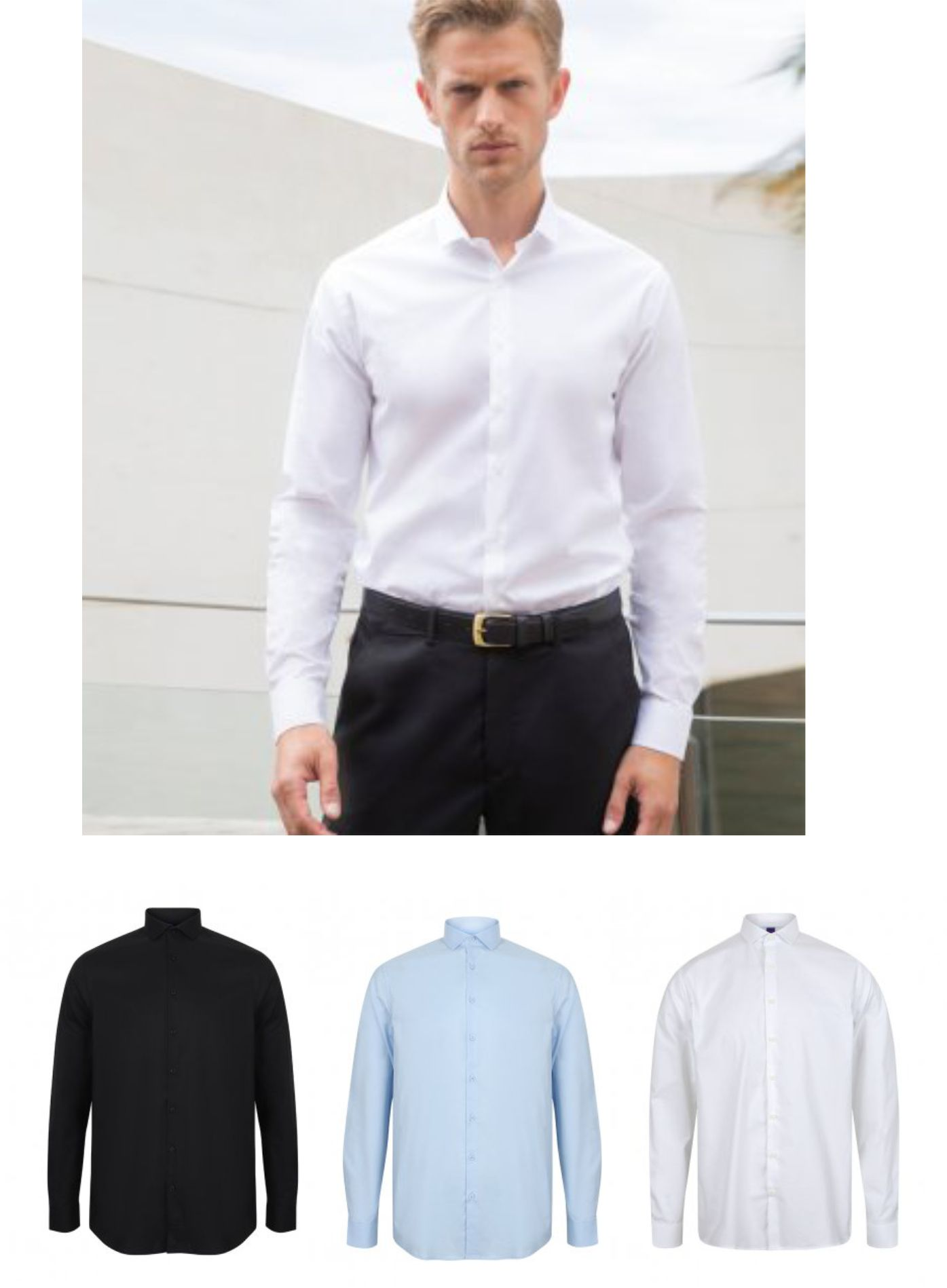 Henbury H532 Long Sleeve Stretch Poplin Shirt
