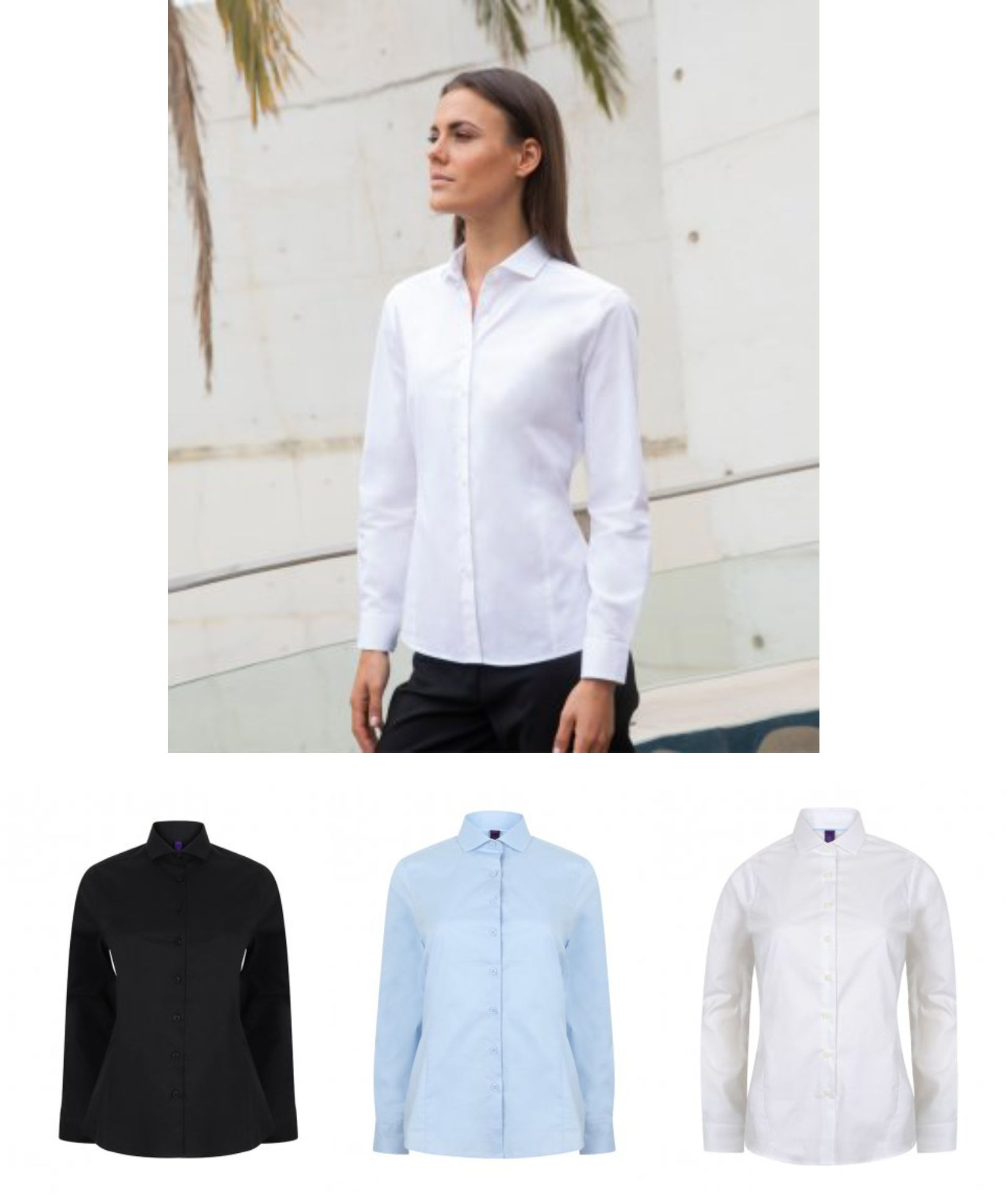 Henbury H533 Ladies Long Sleeve Stretch Poplin Shirt