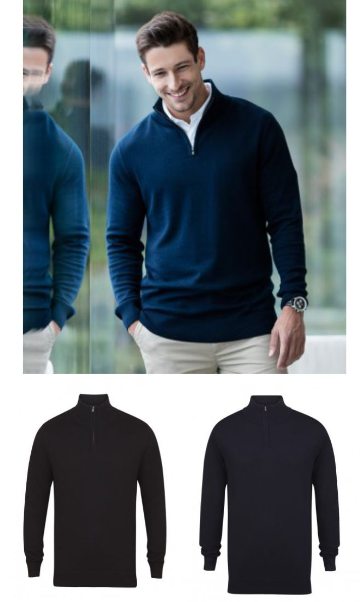 Henbury H729 Zip Neck Sweater