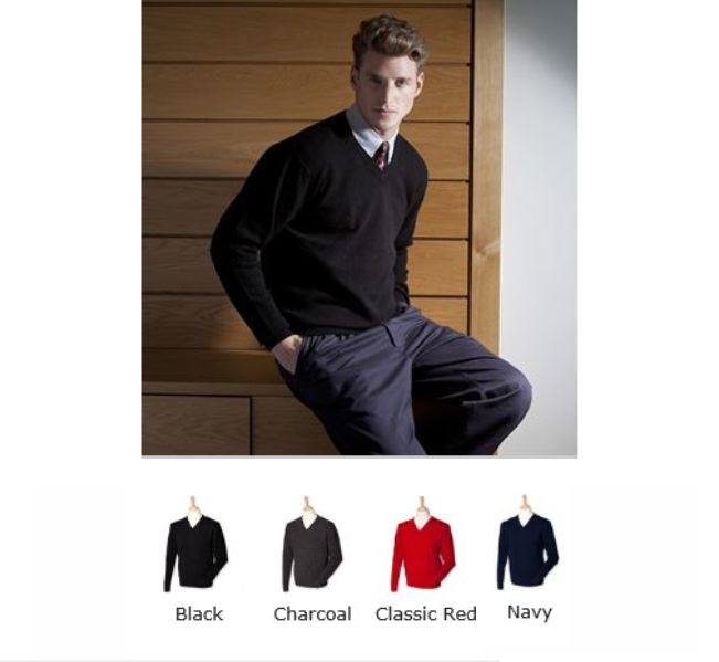 Henbury H730 V neck Lambswool Jumper