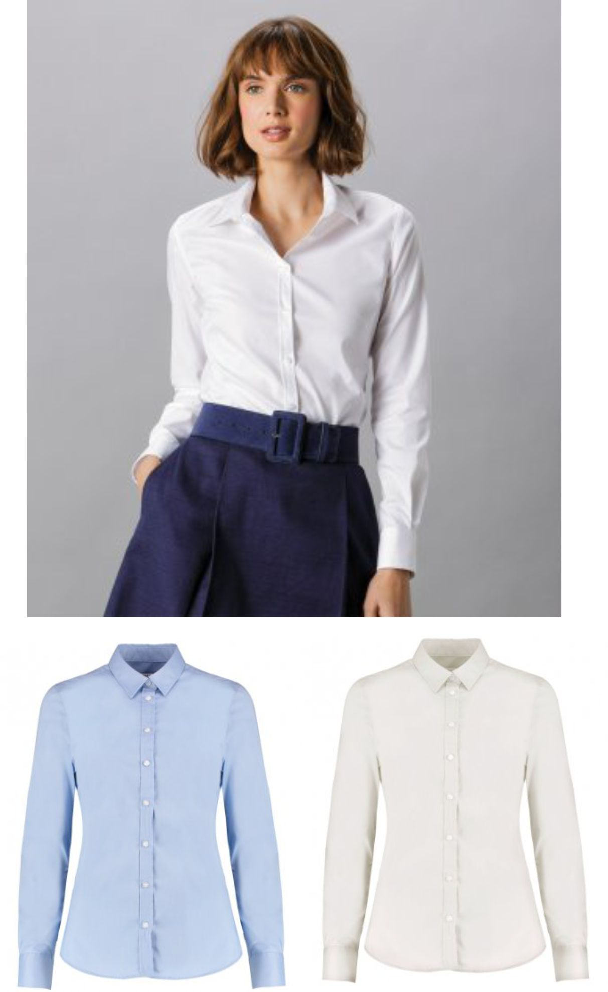 Kustom K782 Ladies Long Sleeve Tailored Stretch Oxford Shirt