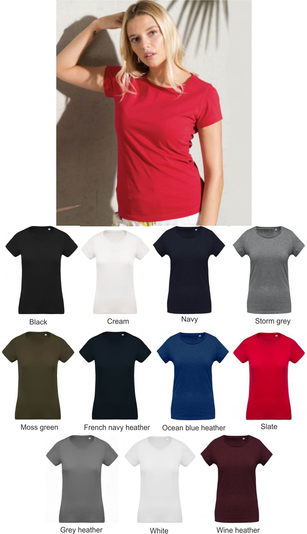 7d988ef55cc KB391 Kariban Ladies Organic Crew Neck T-Shirt - £6.12   Ark Trading ...