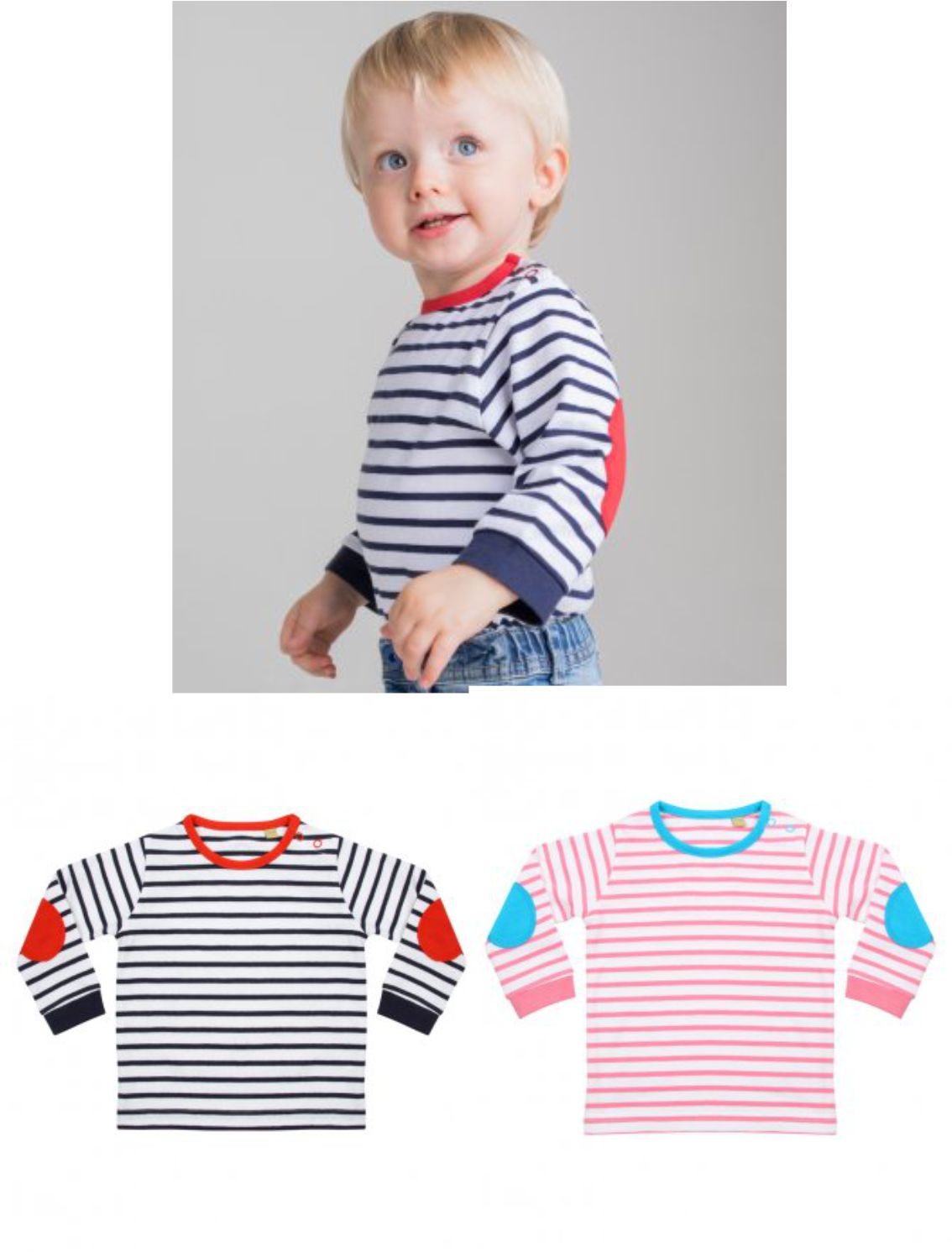 4a0c65a5c LW28T Larkwood Baby/Toddler Long Sleeve Striped T-Shirt - £7.99 ...