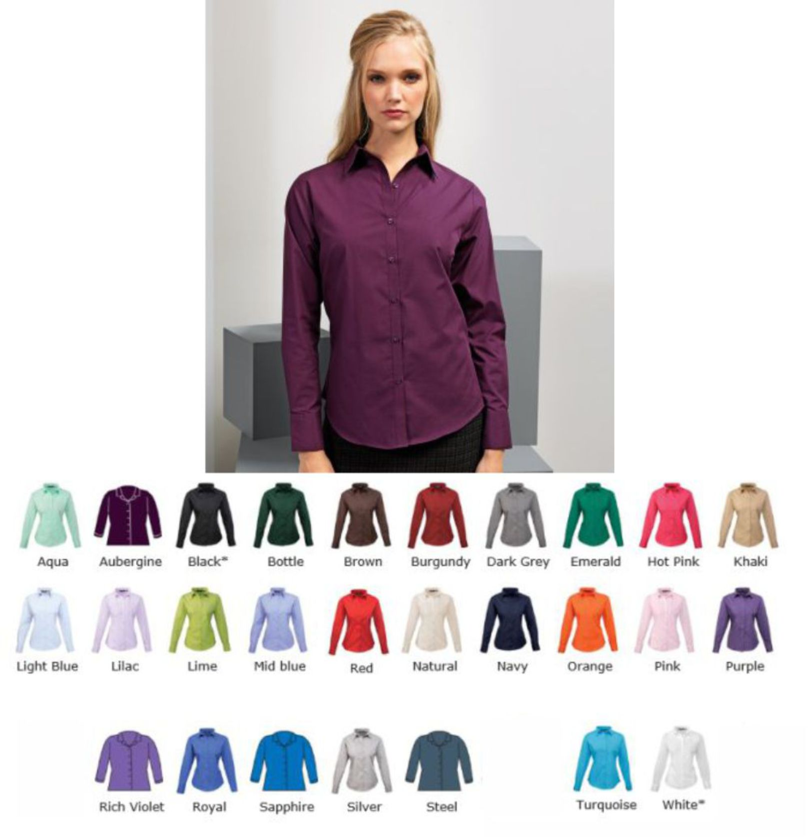 Premier PR300 Ladies long sleeve Poplin Shirt