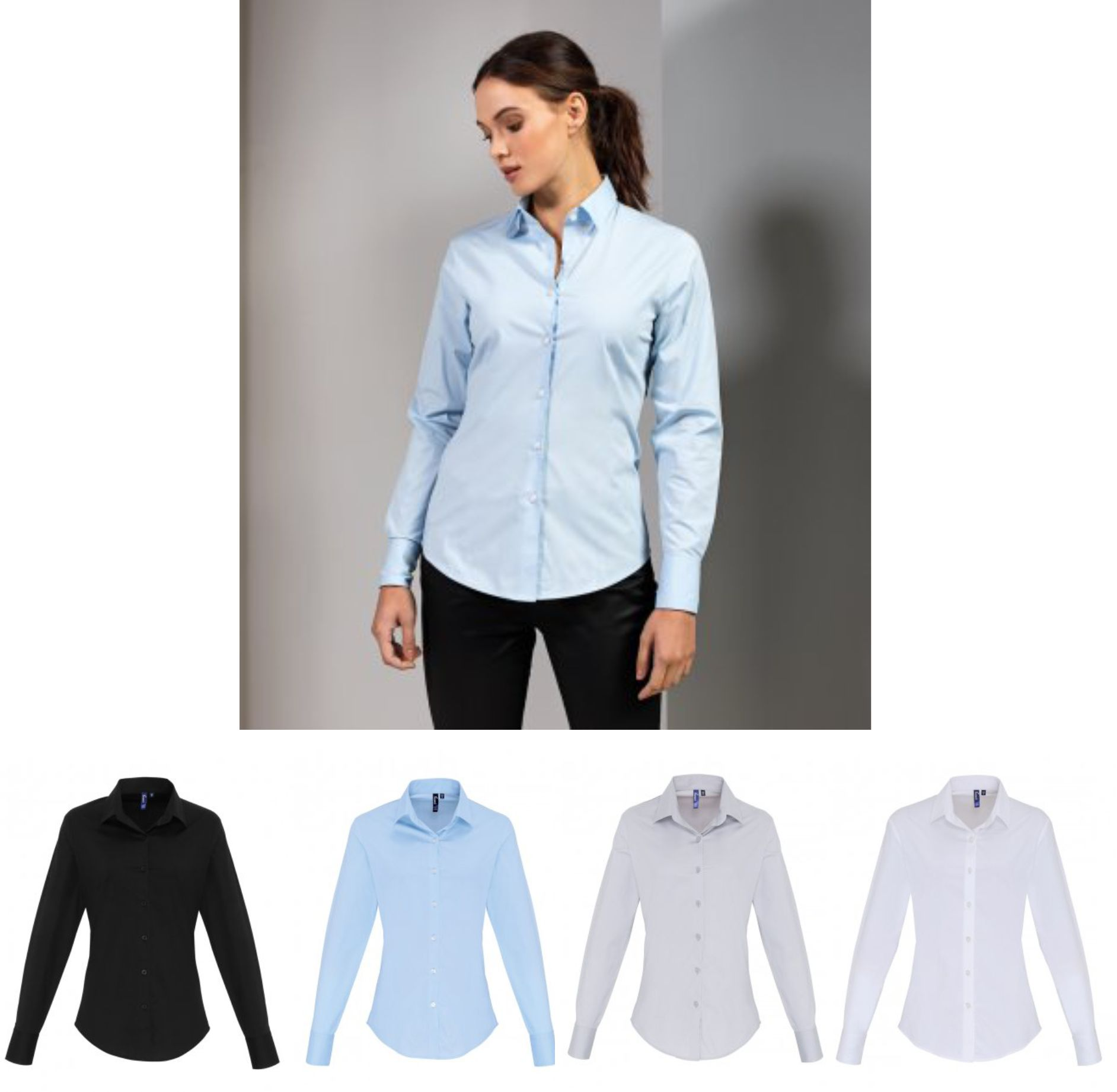 Premier PR344 Ladies Long Sleeve Stretch Fit Poplin Shirt