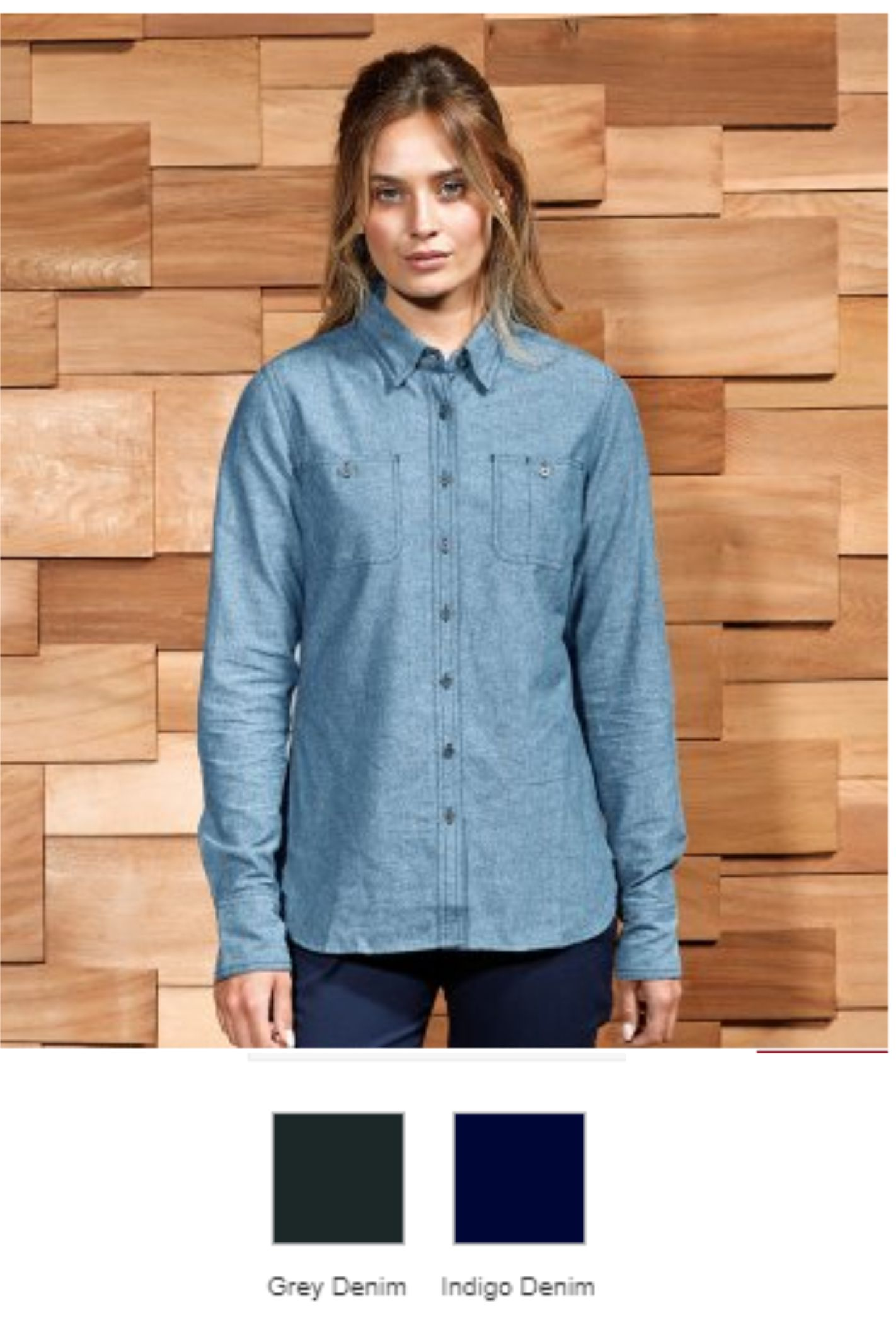 Premier PR347 Ladies Organic Fairtrade Long Sleeve Chambray Shir