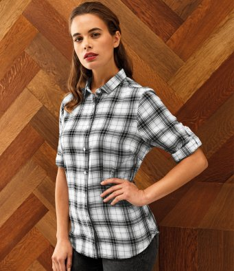 PR354 Premier Ladies Ginhill Check Long Sleeve Shirt