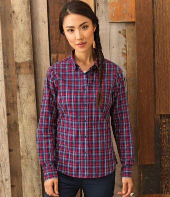 PR356 Ladies Sidehill Check Long Sleeve Shirt