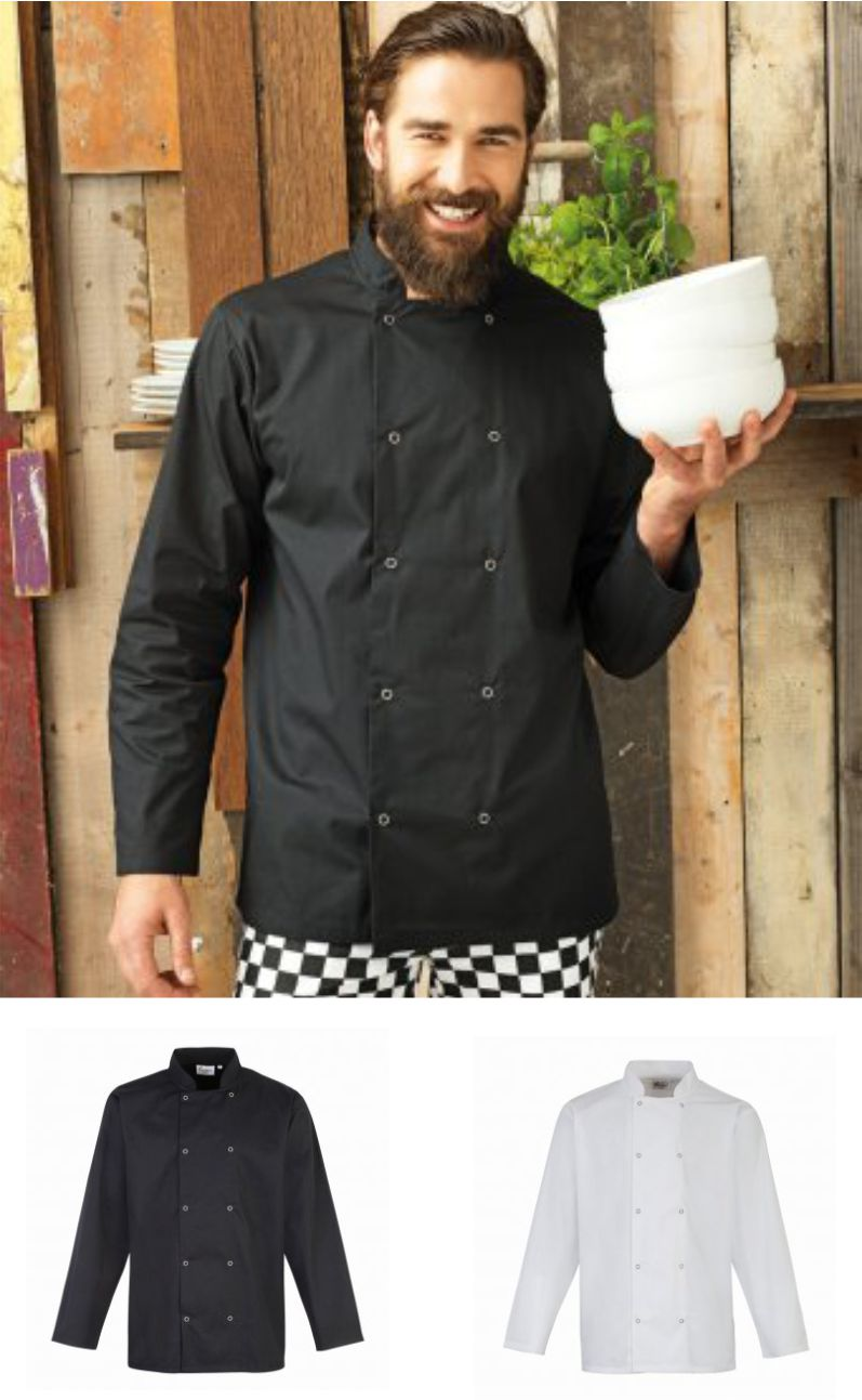 Premier PR665 Unisex Long Sleeve Stud Front Chef's Jacket