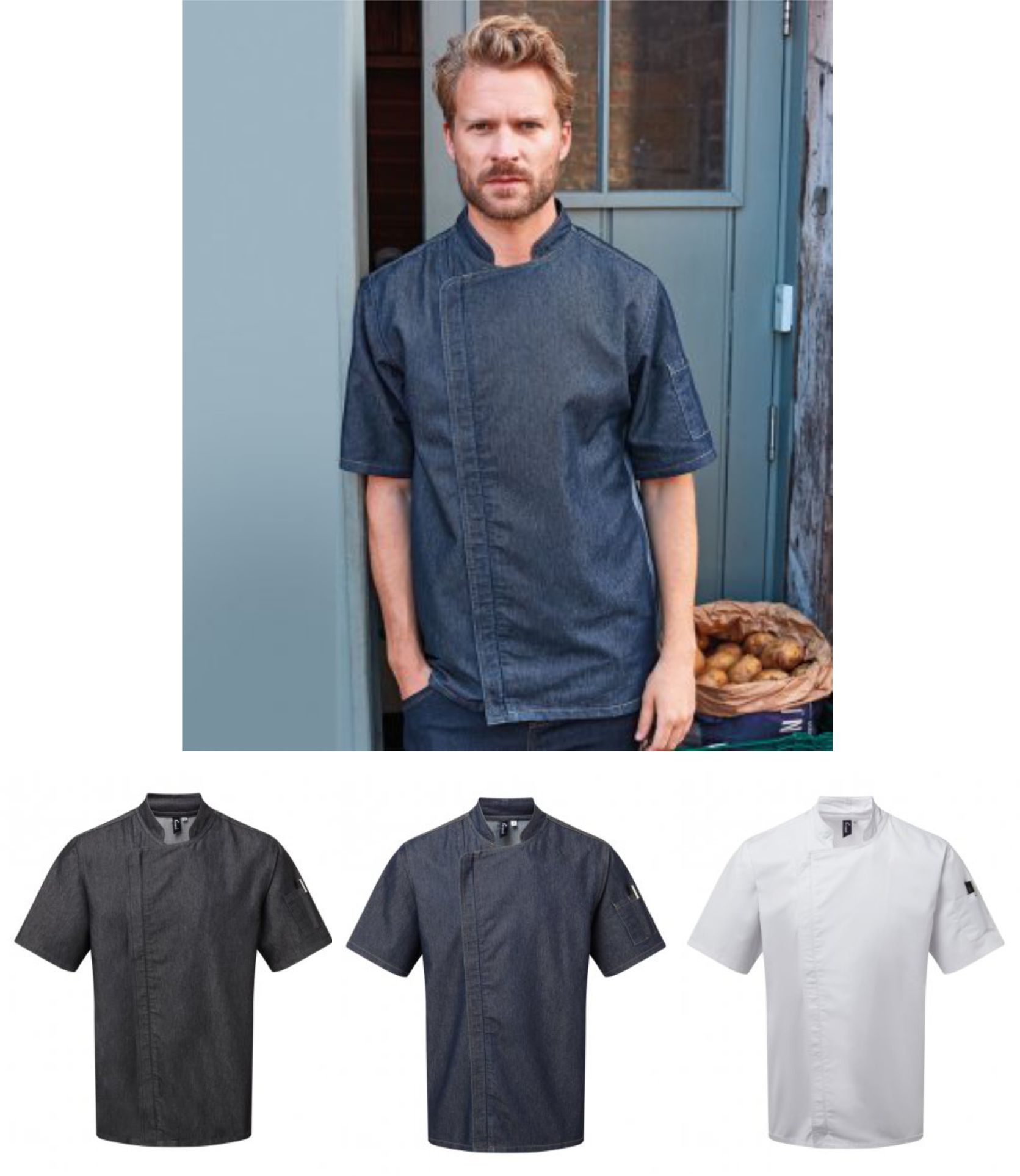 PR906 Premier Short Sleeve Zipped Chef's Jacket