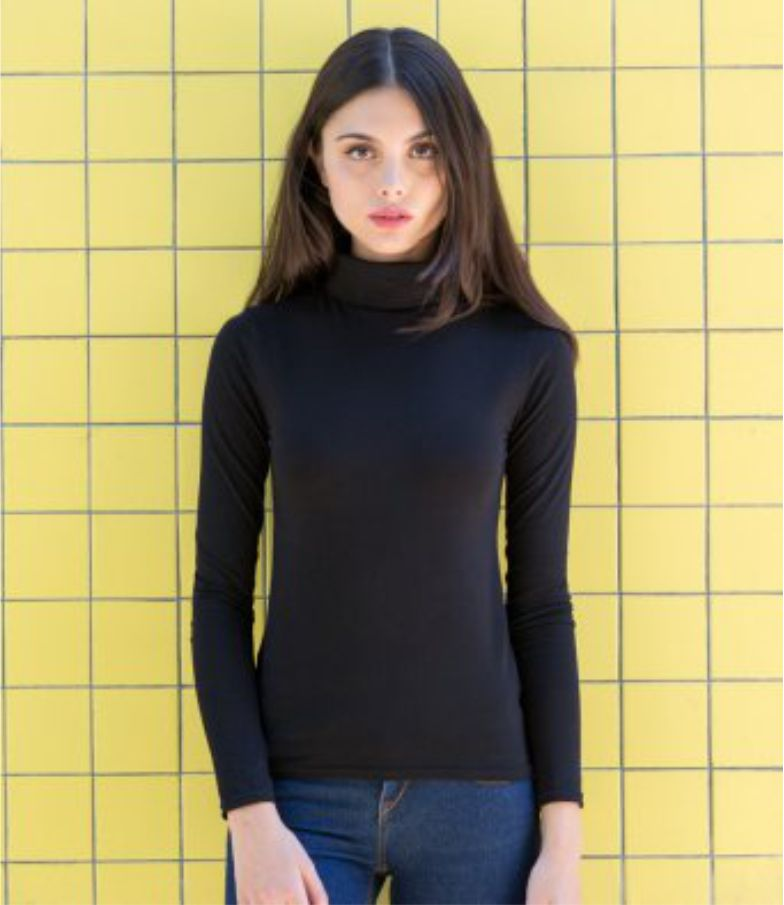 SF ST125 Ladies Feel Good Stretch Roll Neck Tee Shirt