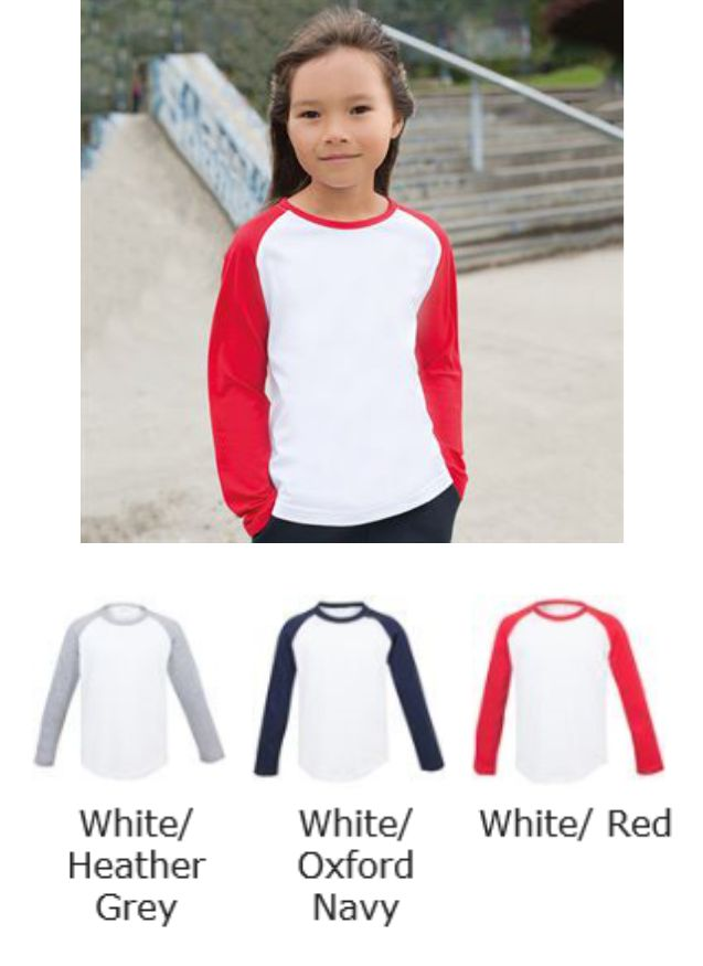 SF SM271 Kid's Long Sleeved Baseball Tee