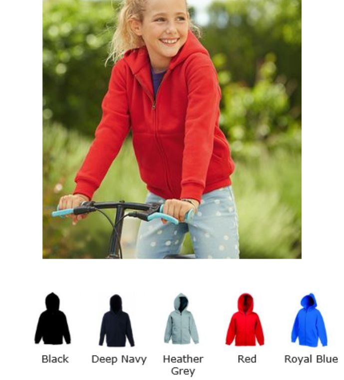Fruit of the Loom SS107B Kid's Premium Hooded Sweat Jacket