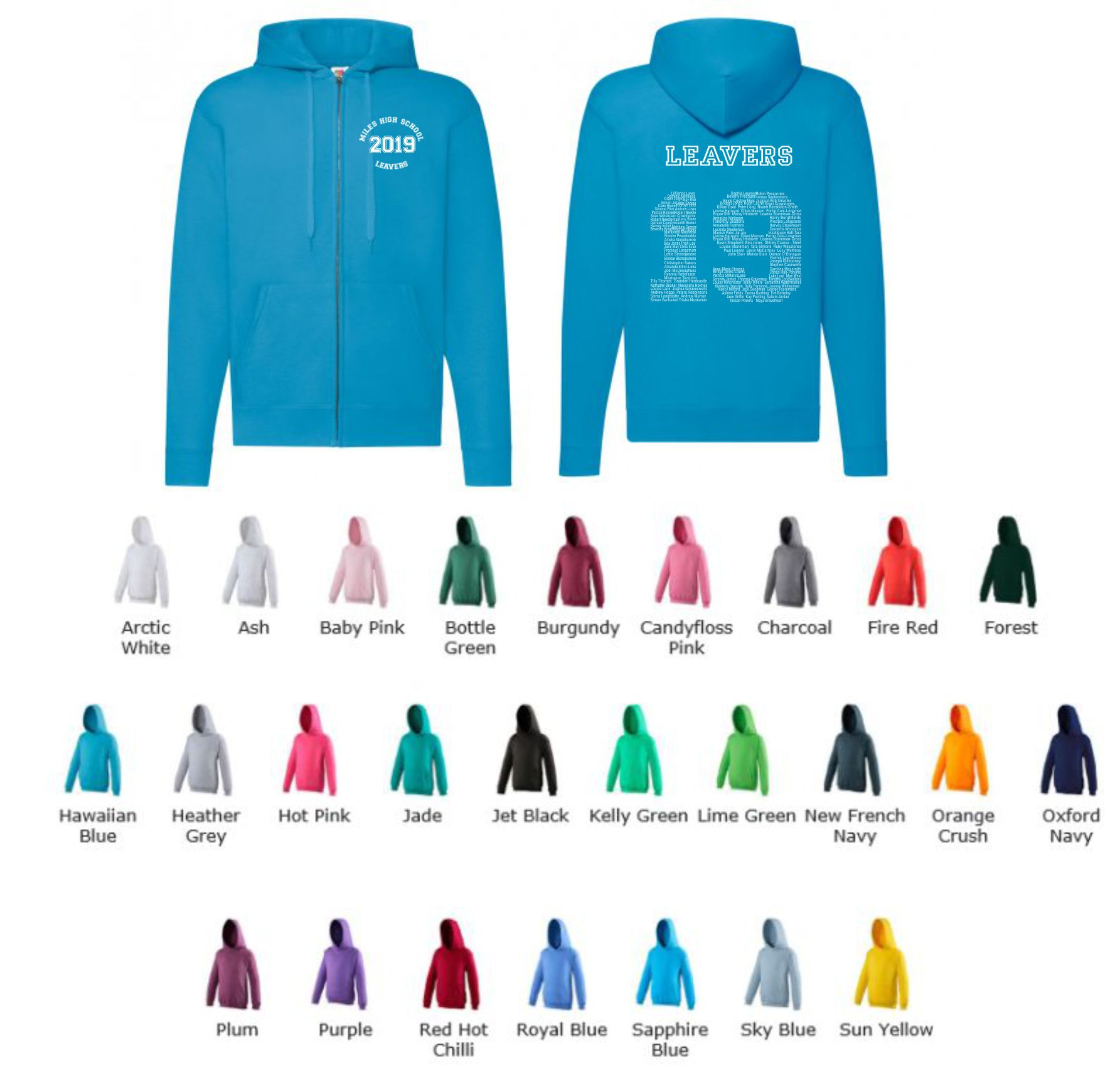 School Leavers JH050 Senior Full Zip Hoody Style 3