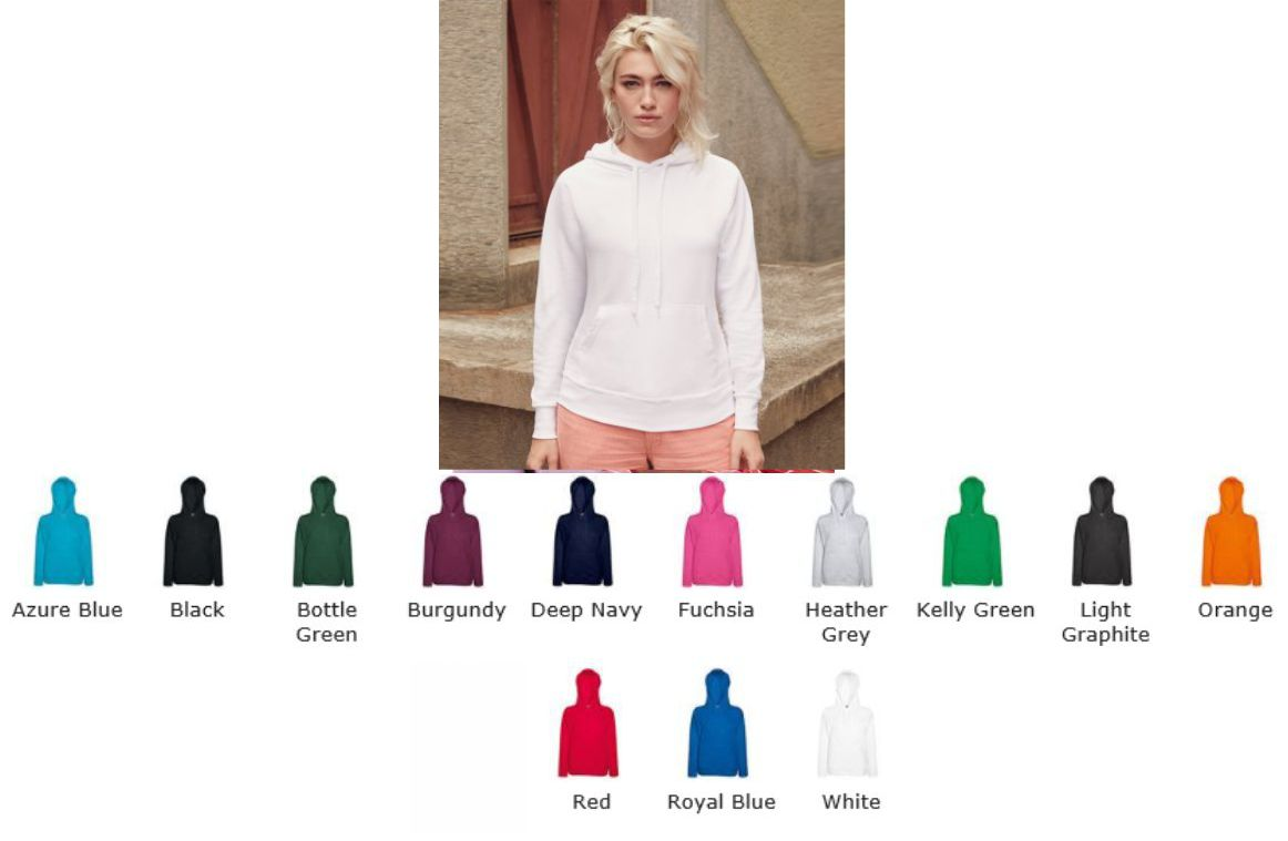 Fruit of the Loom SS76M Ladies Lightweight Hooded Sweat