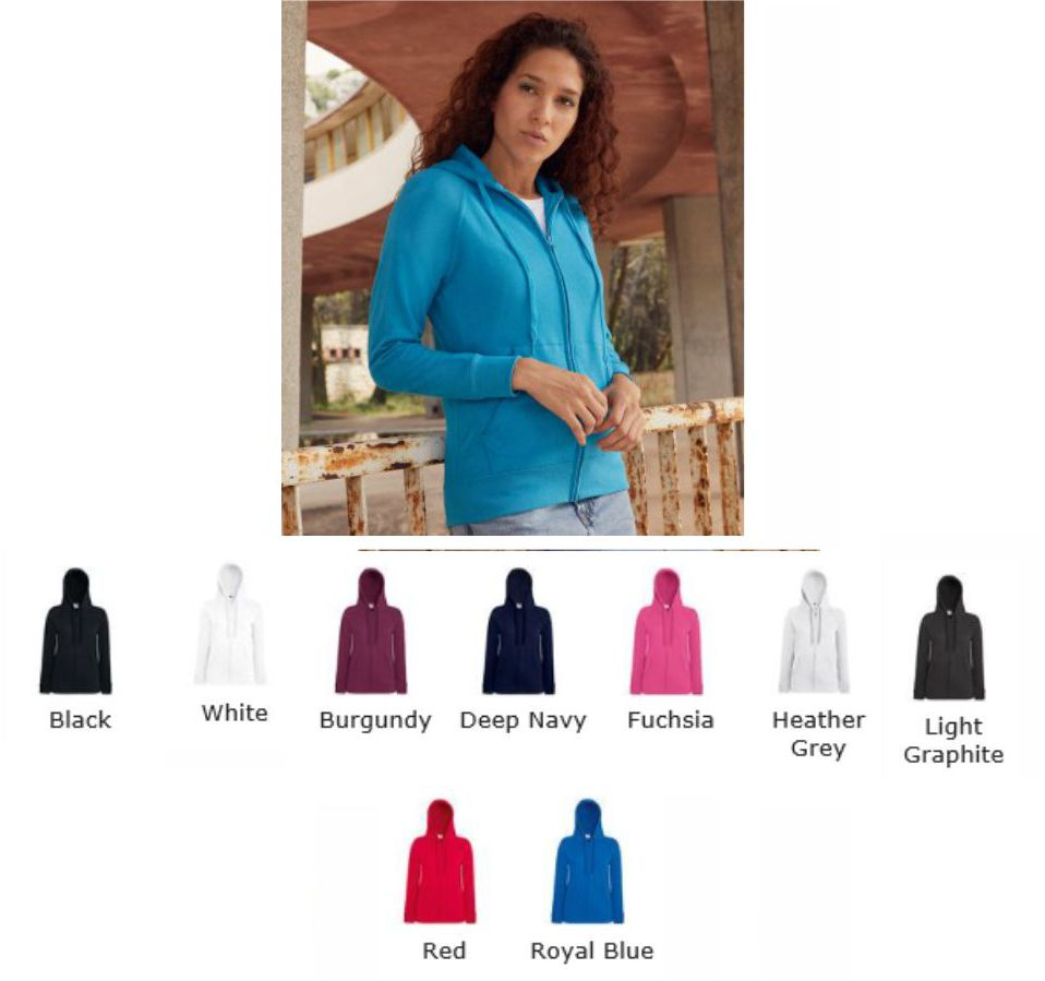 Fruit of the Loom SS99M Lady-fit Lightweight Hooded Sweat Jacket