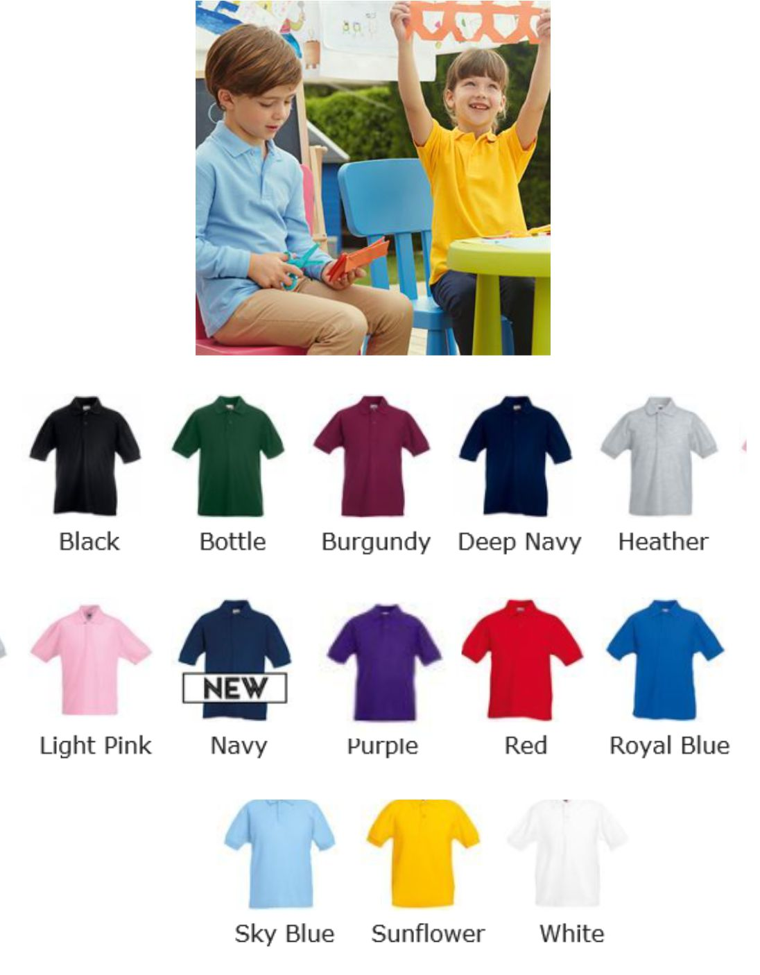 Fruit of the Loom SS25B Childs Polo