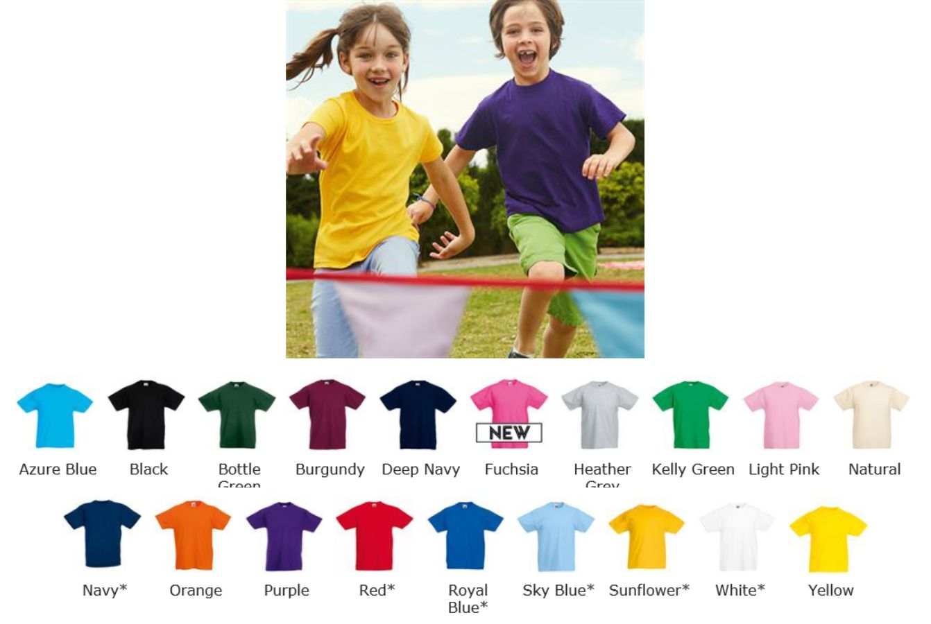 Fruit of the loom 61033 SS28B Childs Value Weight tee shirt