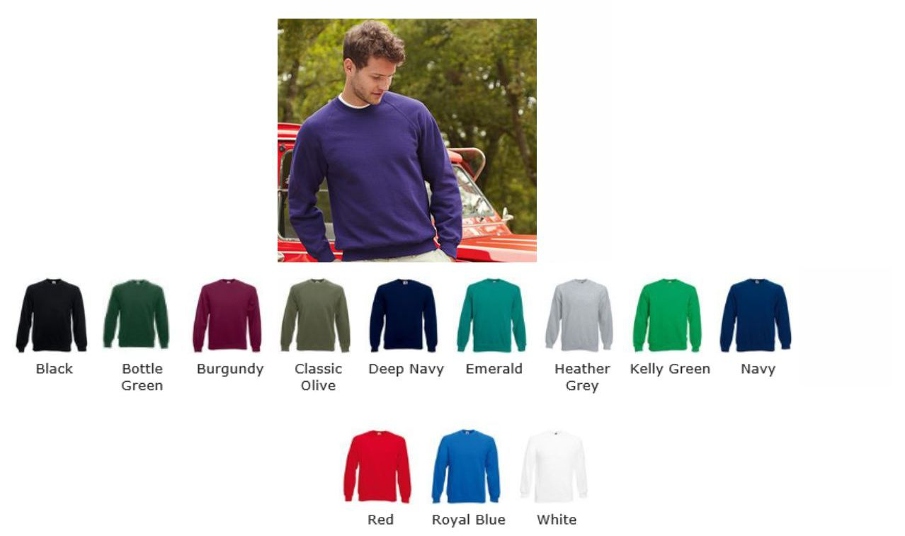 Fruit of the Loom SS63M Lightweight Raglan Sweatshirt