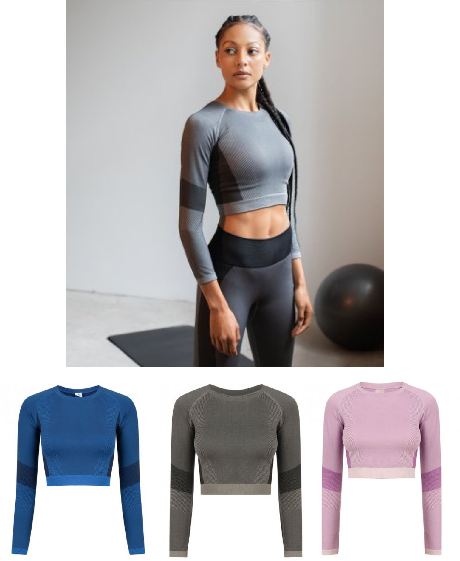 TL352 Tombo Ladies Seamless Panelled Long Sleeve Crop Top
