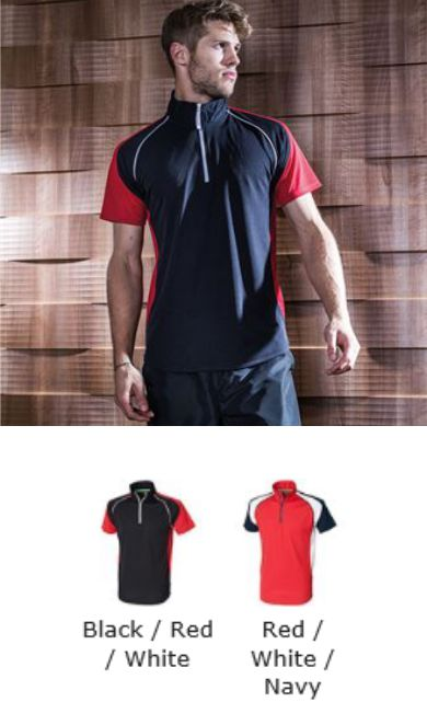 Tombo Teamsport TL561 Panel Zip Neck Sports Tee