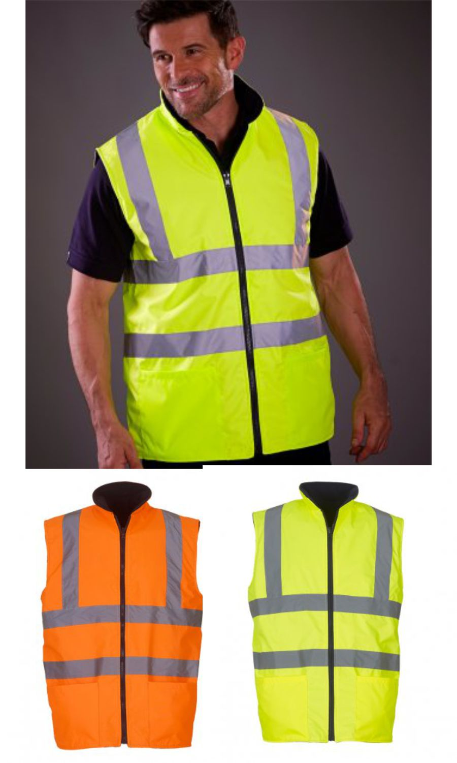 Yoko YK061 Hi Vis Reversible Fleece Body Warmer